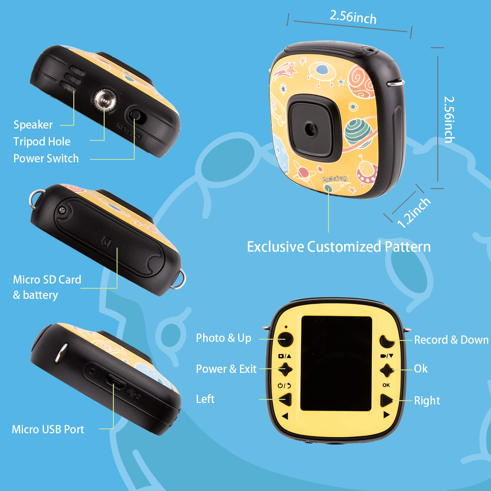 Rosefray Kids Camera,1080P HD Kids Action Camera, Sports Kids Digital Cameras for Boys and Girls, 16GB SD Card, Yellow by Rosefray (Image #3)