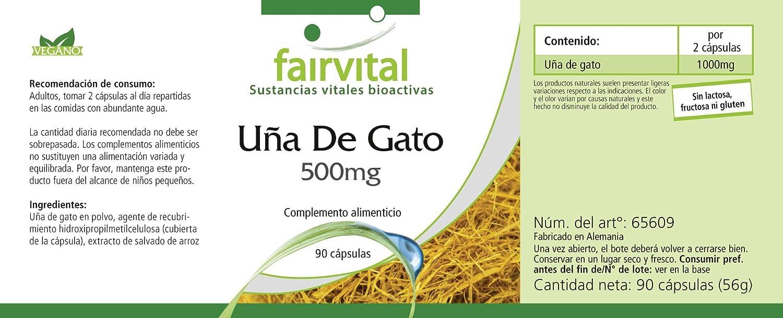 Uña de Gato 500mg - 45 días - vegano - ALTA DOSIS - 90 cápsulas - Uña de gato: Amazon.es: Salud y cuidado personal