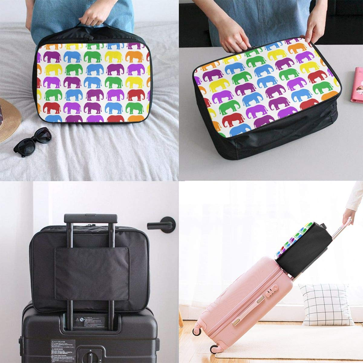 Travel Luggage Duffle Bag Lightweight Portable Handbag Colorful Elephant Large Capacity Waterproof Foldable Storage Tote