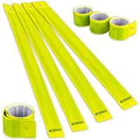 ECENCE Set of 8x Slap armbands Reflector strips Safety bands Snap armbands reflective for children adults boys and girls when cycling running jogging 12040308