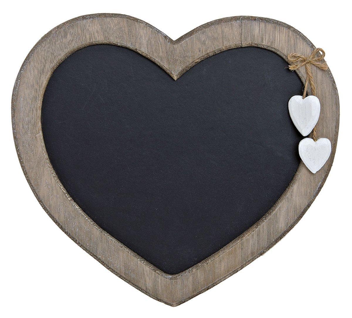 levandeo Memotafel Herz 30x27cm Memoboard Tafel Wandtafel aus Holz in weiß braun gewischt mit Herzen zum Hängen - Landhaus Vintage Shabby Kreide Kreidetafel Küchentafel