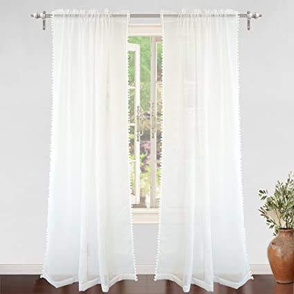 DriftAway Laura Pom Trimmed White Voile Sheer Window Curtains Set Of Two Panels Rod