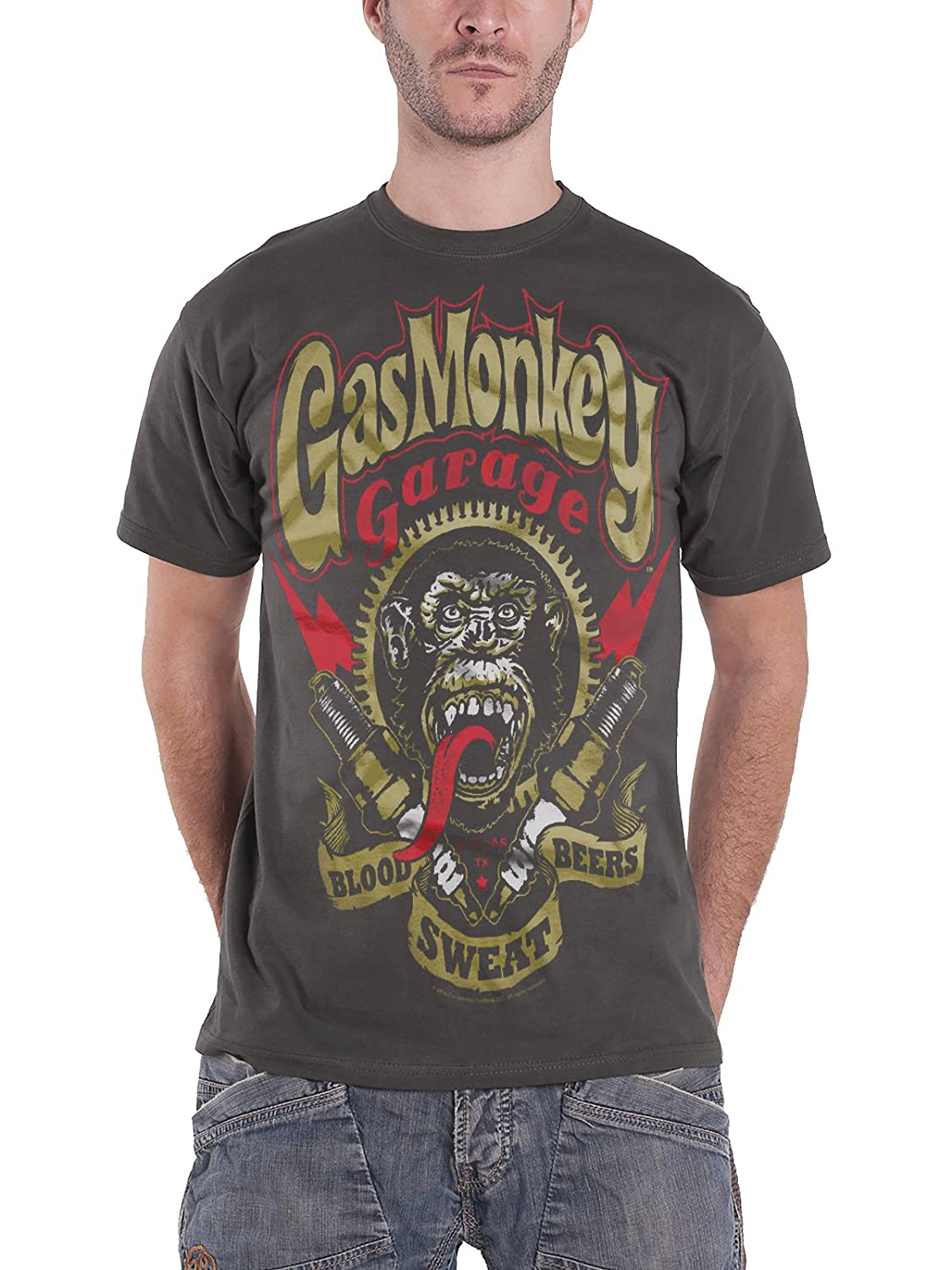 Gas Monkey Garage T Shirt Spark Plugs Kustom Builds Official Mens Charcoal