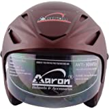 Aaron Apex Warrior Open Face Helmet Scratch-Resistant (Matt and Wine and Red, Medium)