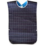SUMAJU Adult Bibs, Washable Dining Bibs Reusable Clothing Protector for Elderly Women Men (Blue)