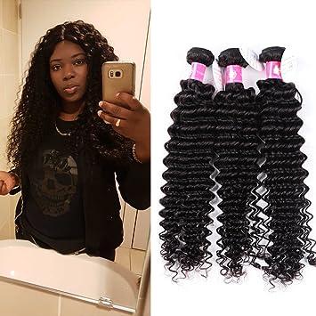 Forawme Women s Deep Wave Brazilian Virgin Human Hair Weaves Free Tangle  4pcs Lot 12 14 c4b85bf9d0