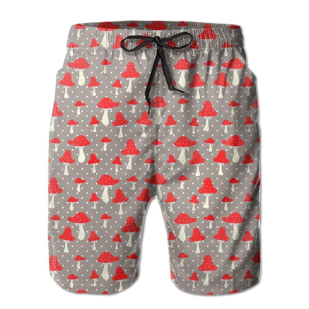 BaPaLa Mens Cute Red Mushroom Beach Shorts Comfortable Homewear