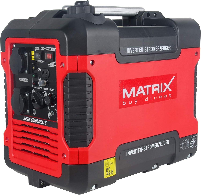Matrix Generador de corriente inverter de gasolina silencioso, 4 tiempos, 2000 W, para camping y garaje