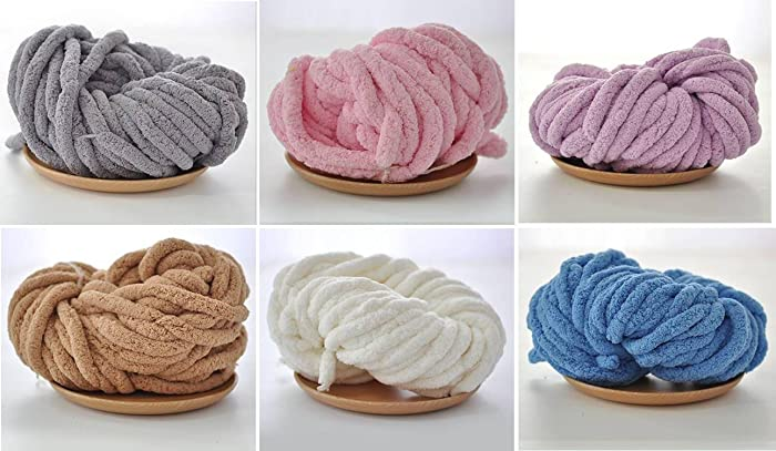 Amazon Com New Trend Chunky Chenille Yarn For Arm Knitting Vegan