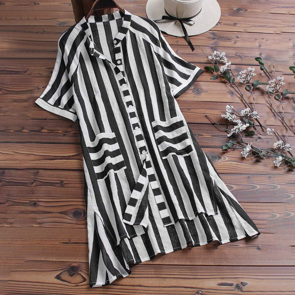 HDGJH Women Vintage V-Neck Short Sleeves Casual Striped Button Down Top T-Shirt