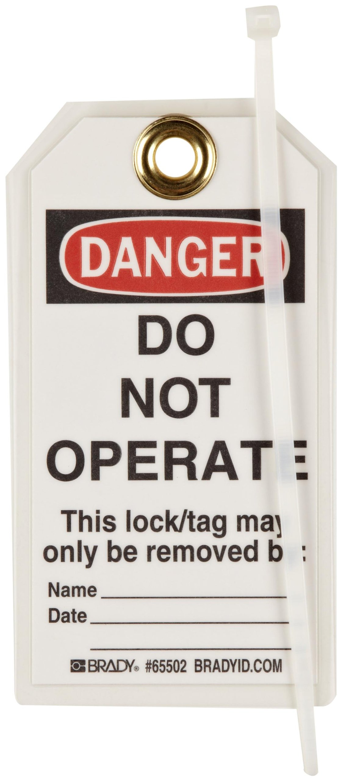 Brady ''Danger - Do Not Operate - Unauthorized Removal...'' Tag, Heavy Duty Polyester, 5-1/2'' Height, 3'' Width (Pack of 25) by Brady