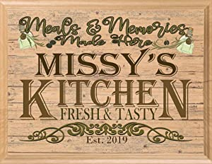 Personalized Kitchen Sign Wall Art Décor Custom Name Wood Gift - Meals and Memories Made Here