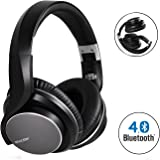 Mixcder Bluetooth Headphones Over Ear with Mic , Wireless and Wired Dual Mode , Foldable Passive Noise Cancelling Headset, Ergonomic Designed with Soft Earmuffs, Crystal Clear Sound for Apple Samsung Smartphones – Black