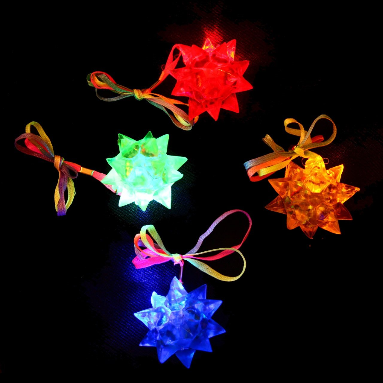 dazzling toys Necklaces LED Blinking Crystal Star Necklace Glow Toy Flash Lights,Red Blue Yellow,Set of 24 . Green