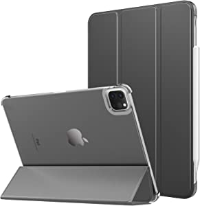 MoKo Case Fit New iPad Pro 11 Inch Case 2021 (3rd Gen), [Support Apple Pencil Charging]Slim Trifold Hard Back Shell Protective Smart Cover Fit iPad Pro 11
