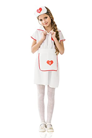 Kids Girls Nurse Halloween Costume Hospital Sister Doctor Dress Up u0026 Role Play (6-  sc 1 st  Amazon.com & Amazon.com: Kids Girls Nurse Halloween Costume Hospital Sister ...