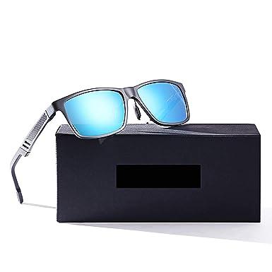 0520868826 LUOMON Men s Polarized Driving Sunglasses Al-Mg Alloy Gray Frame Blue  Mirrored Rectangular Lens