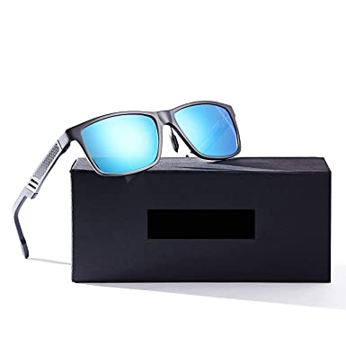 2886cfb0f0e LUOMON Men s Polarized Driving Sunglasses Al-Mg Alloy Gray Frame Blue  Mirrored Rectangular Lens