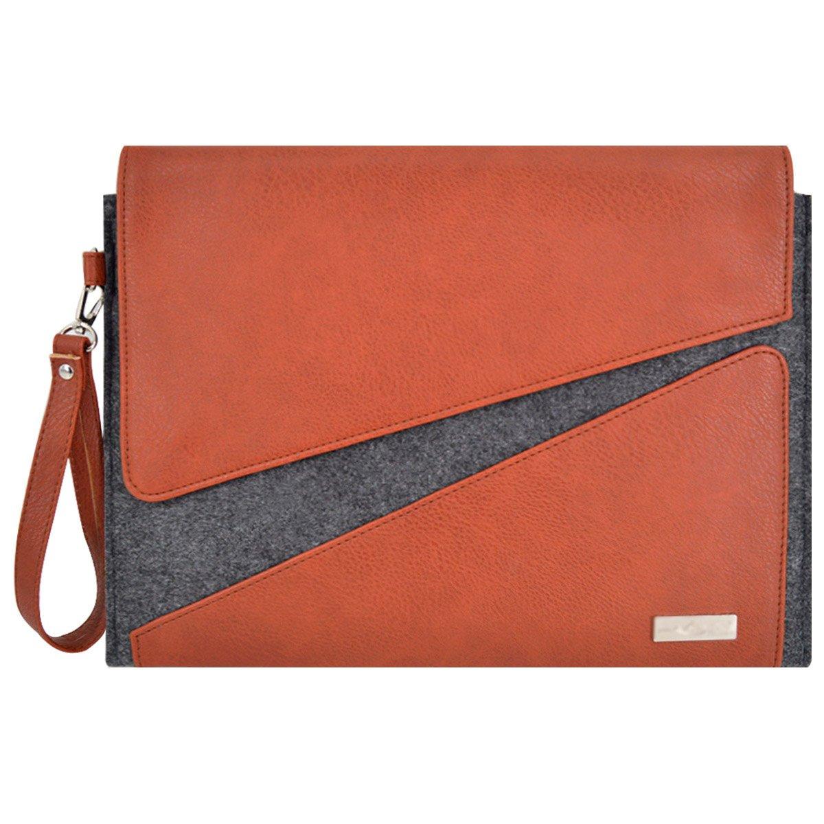 Felice Men PU Leather A4 Document Bag Holder Business Envelope Clutch Purse with Wristlet