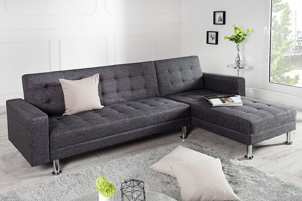 Ecksofa design  Design Ecksofa CHAISE LOUNGE mit Schlaffunktion grau beidseitig ...