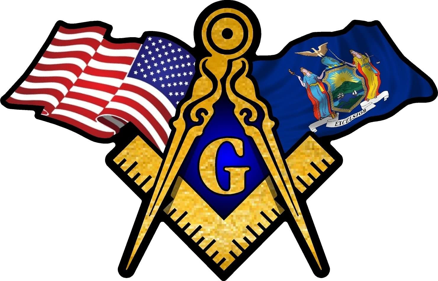 """ProSticker 067 (One) 3"""" X 5"""" Masonic Series American & New York Flags Compass Square Decal Sticker"""