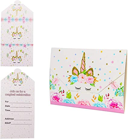 Pink /& Gold Magical Unicorn Childrens Birthday Party Invitations