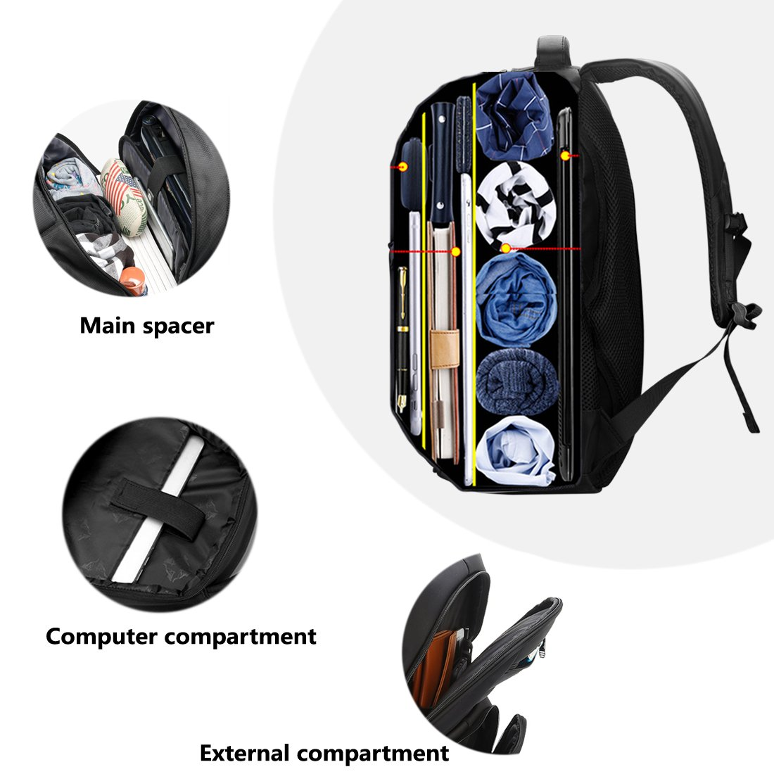 Laptop Backpack, Water-resistent Business Loop Backpack, 15.6 Inch Backpack by ShangYu (Image #4)