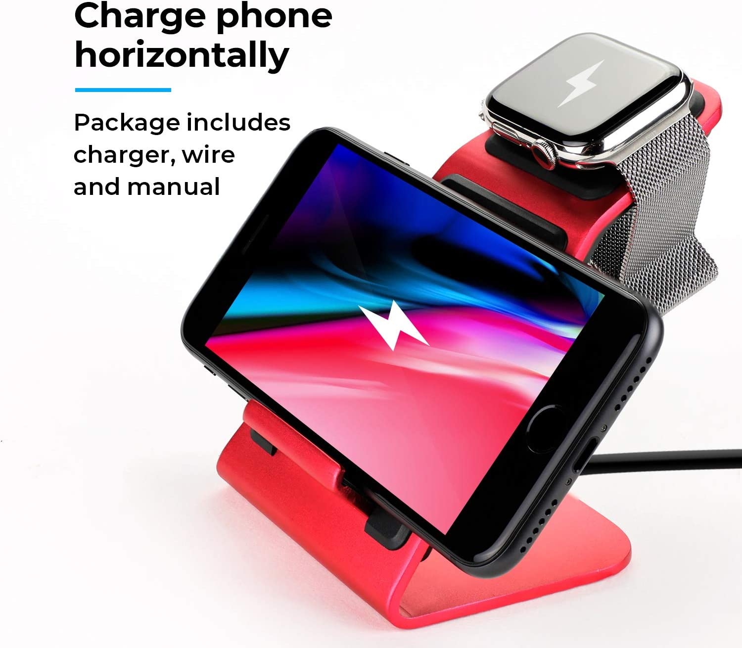 Metal Wireless Charging Station 2 in 1 Universal Fast Wireless Stand Duo Charger Dock Horizontally Safe Organizer Nightstand for Apple Watch, iPhone, Samsung Galaxy and Qi Smartphone (Red)