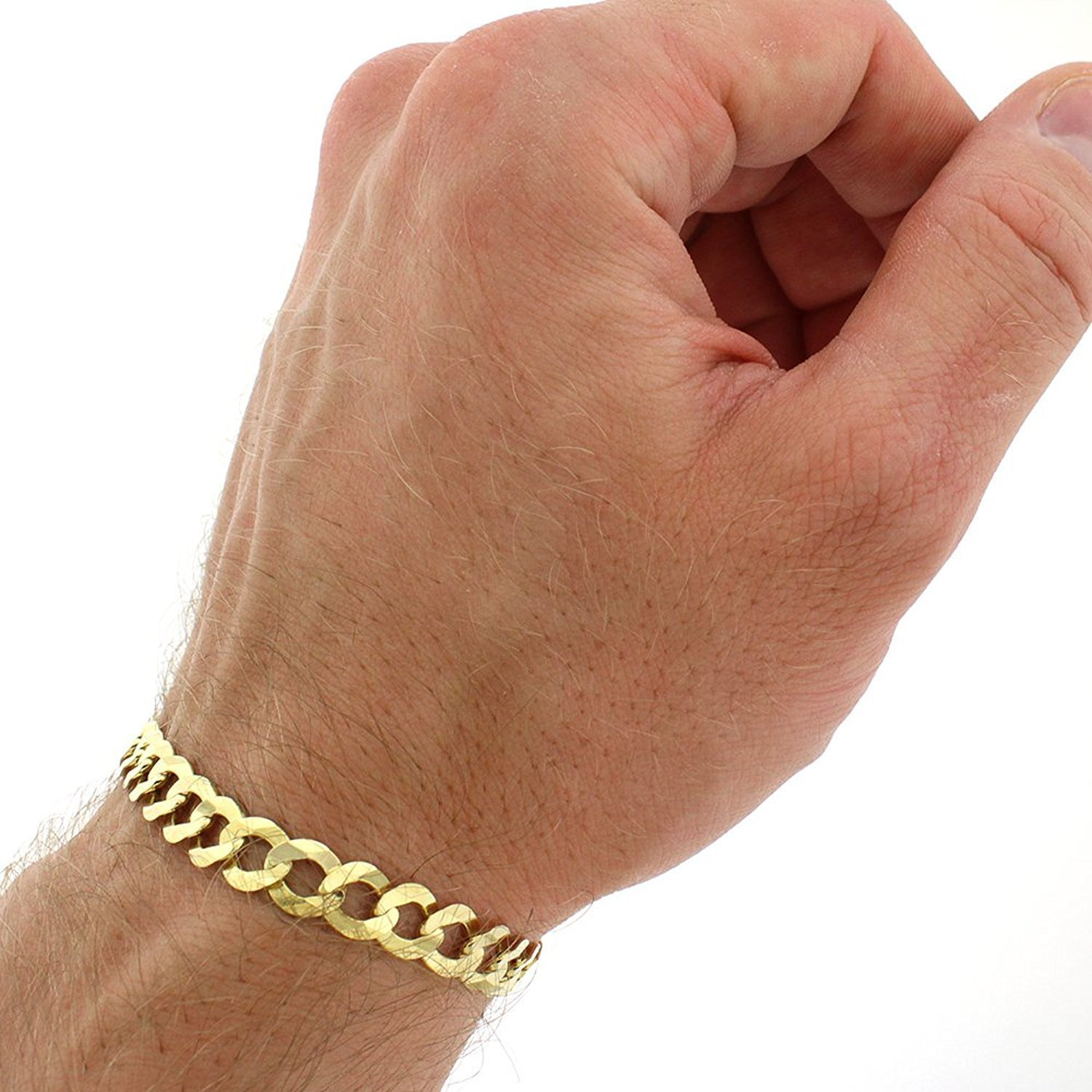 14k Yellow Gold 7mm Solid Cuban Curb Link Bracelet Chain 8'', 8.5'', 9'' (8.5) by In Style Designz (Image #2)