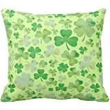 Decorative Square Pillow Case St Patricks Day Green Watercolour Shamrock Pattern Pillow Cover 18X18 Inches