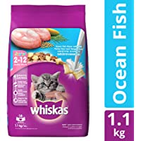 Whiskas Kitten Dry Cat Food, Ocean Fish Flavour – 1.1 kg Pack
