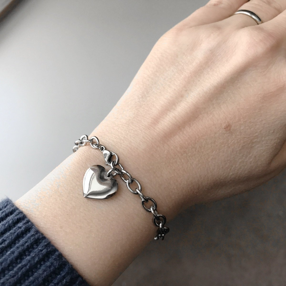 Womens Stainless Steel Heart Charm Chain Bracelet Adjustable (6.5 - 7 inches)) by Loralyn Designs (Image #3)