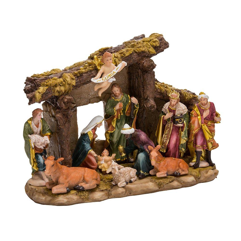 Kurt Adler Resin Stable-11-Piece Nativity Set with Figures, 11 Piece