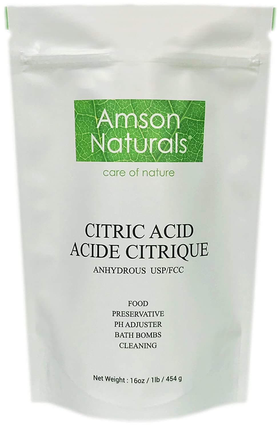 CITRIC ACID (Made in Canada) - 1lb / 454 g –by Amson Naturals – 100 % Pure Food Grade white crystalline powder - use as food additive / preservative, ingredient in cosmetic products, bath bombs , water softener, household cleaner etc.