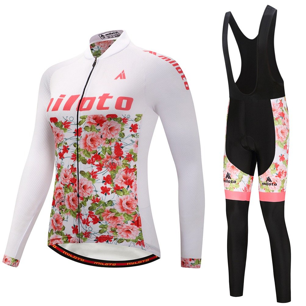 Uriah Women 's Cycling Jersey andブラックBibパンツ熱フリースセット長袖反射 B0785Q149P Chest 33.8''=Tag S|Flower Sea Flower Sea Chest 33.8''=Tag S