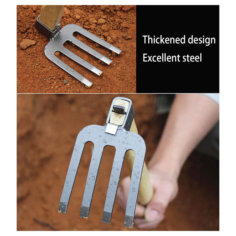 SuXue Holzgriff Edelstahl Grabhacke Pfl/ügen Breite Doppel-Einsatz Hacke in gezogene Tridentate Eisen Hacke Gartenarbeit