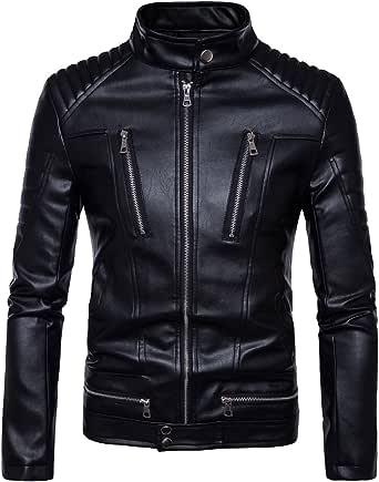 AOWOFS Punk Menswear Motorcycle Zipper Leather Motorcycle Jacket