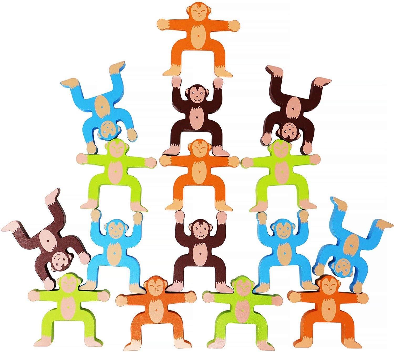 Lewo Juegos de apilamiento de Madera Monos Enclavamiento Juguetes Juegos de Equilibrio Juegos para niños Juguetes educativos para 3 4 5 6 años de Edad Niños Bebés Adultos 16 Piezas