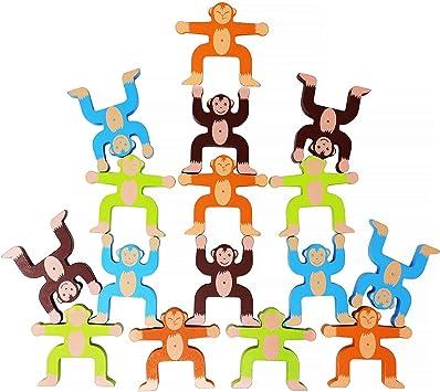 Lewo Juegos de apilamiento de Madera Monos Enclavamiento Juguetes Juegos de Equilibrio Juegos para niños Juguetes educativos para 3 4 5 6 años de Edad Niños Bebés Adultos 16 Piezas: Amazon.es: Juguetes y juegos