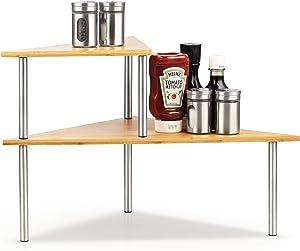 Cook N Home Corner Storage Shelf Organizer, Triangle, 2 Tier, Bamboo