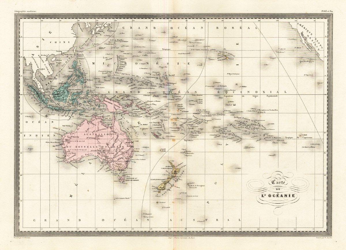 Map Of Australia 1880.Antique Map Oceania Australia New Zealand Indonesia Malte Brun