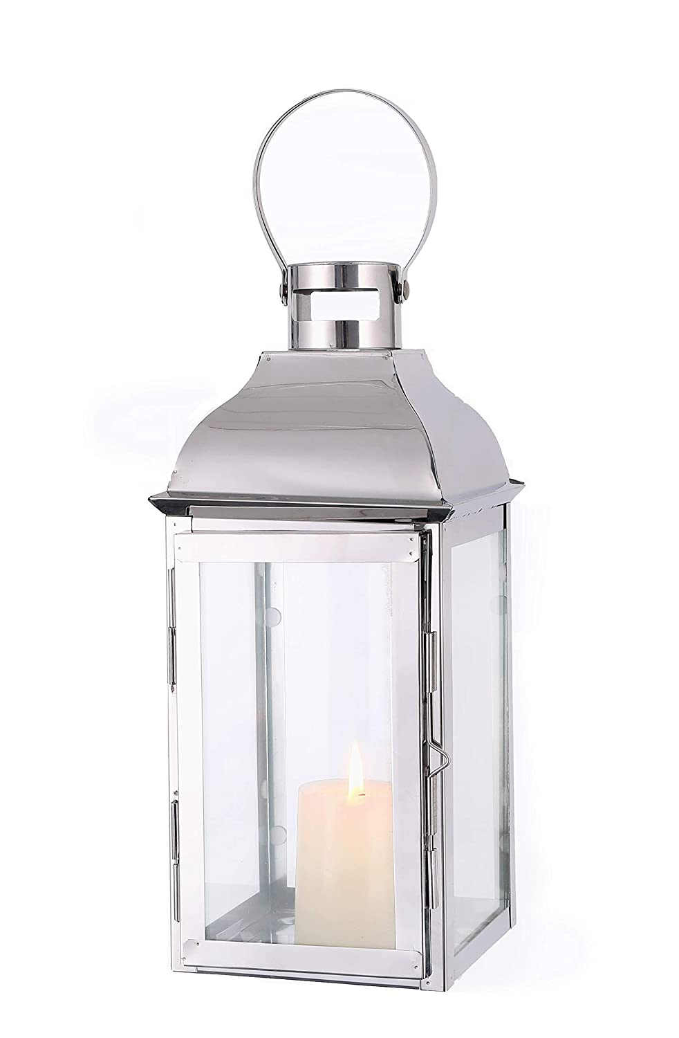 """JHY Design Silver Decorative Lanterns 15"""" High Stainless Steel Candle Lanterns with Tempered Glass for Indoor Outdoor, Events, Parities and Weddings Vintage Style Hanging Lamps …"""