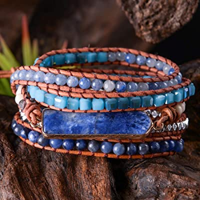 Handmade Women Silver Real Sugilite Stone Bead Leather Wrap 5 Rows Bracelet BOHO