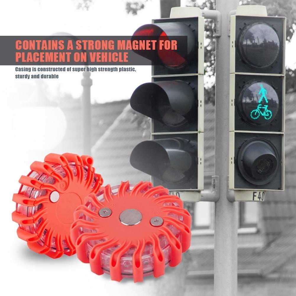 Akozon Sem/áforo de Advertencia de Seguridad Rojo l/ámpara de se/ñalizaci/ón de 16 LED para Carretera Impermeable con 9 Patrones de Destello