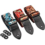 Irich 3Pcs Adjustable Guitar Straps, with 6Pcs Strap Blocks - Vintage Style Devil Drawing Pattern Length 88cm-153cm for Acoustic, Bass and Electric Guitar
