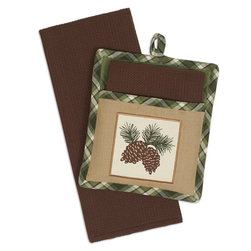 Heart of America Gift Set Pinecone Sprig Potholders & Dishtowels - 4 Pieces by Heart of America