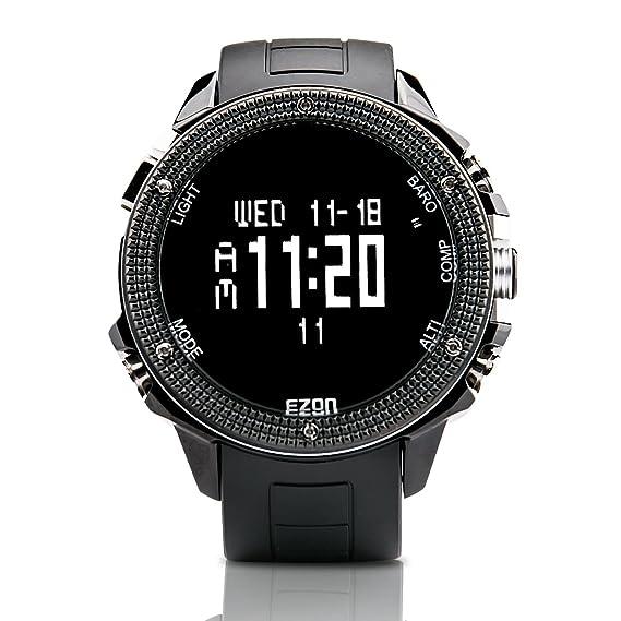 ezon Senderismo Escalada de montaña Reloj Hombre Relojes Digital con altímetro, barómetro, brújula h501 a01: Amazon.es: Relojes