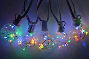 STAROSY LED Globe String Lights Outdoor Colored G50 Waterproof Patio Lights with 20 Glass Bulbs Commercial Grade Indoor Decorative Porch Lights for Bistro Garden Cafe Party White Wire