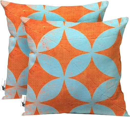 UBU Republic Handmade Retro Outdoor Throw Pillows 20 – Set of 2 Orange Blue Retro Star Pattern Indoor Outdoor Pillows for Your Patio