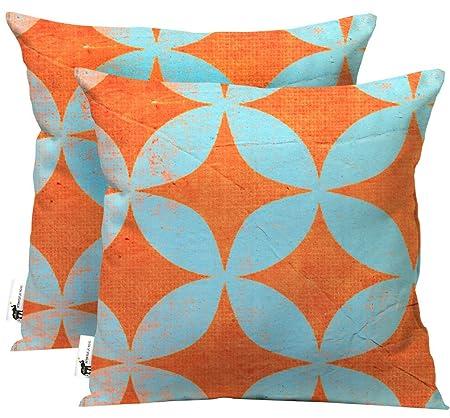 UBU Republic Handmade Retro Outdoor Throw Pillows – SET OF 2 – Orange Blue Retro Star Pattern Boho Patio Pillows – Starpod 16X16